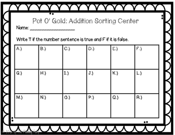 Pot O Gold: Addition Sorting Center