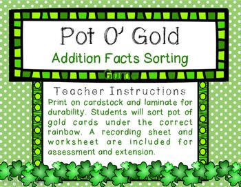 Pot O Gold: Addition Sorting Center