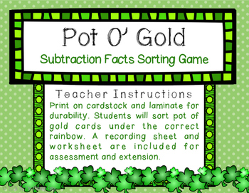 Pot O Gold: Subtraction Sorting Center
