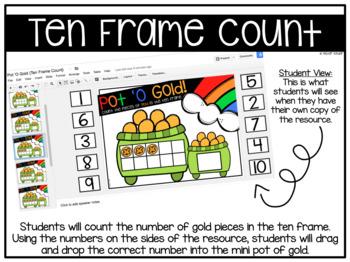 Pot 'O Gold Ten Frame Count {Google Classroom}