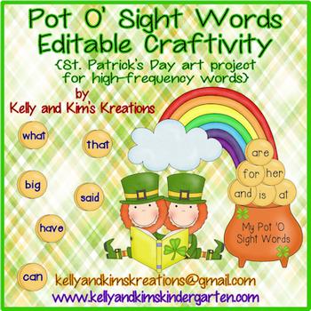 Pot O' Sight Words Editable Craftivity