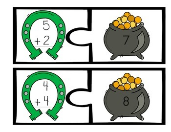 Pot o' Gold Single Digit Addition Puzzles and Worksheet