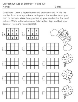 St. Patrick's Day task cards and worksheets: add and subtract 10 and 100