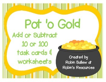 St. Patrick's Day task cards and worksheets: add and subtr