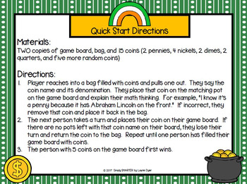 Pot of Coins:  NO PREP Coin Identification Grab and Cover Game