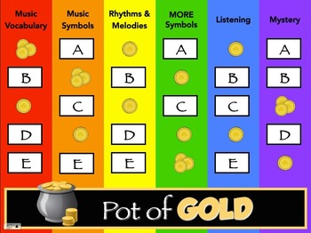 Pot of GOLD - Music Assessment Game! 2nd Grade