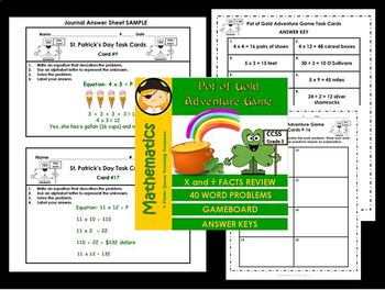 Pot of Gold Adventure Game with X & ÷ Task Cards  / CCSS Aligned 3rd Grade