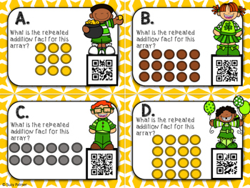 Pot of Gold Arrays Task Cards with QR Codes (multiplication & repeated addition)