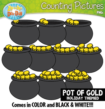 Pot of Gold Counting Pictures Clipart {Zip-A-Dee-Doo-Dah Designs}