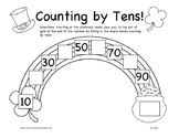 Pot of Gold Counting by Tens Worksheet K-2nd Grade