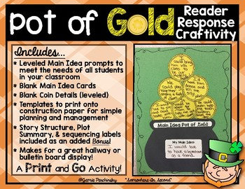 Pot of Gold Reading & Writing Craftivity for Main Idea, Story Structure, & More!