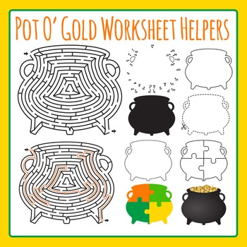 Pot of Gold - St Patrick's Day Worksheet Helper Clip Art Set for Commercial Use