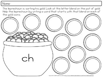 Pot of Gold St. Patrick's Day Letter Blend Phonics Practice
