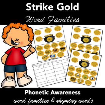 Word Families - Task Cards - Pot of Gold  - . Work Mats Activity