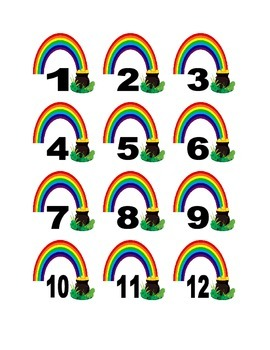 Pot of Gold at End of Rainbow Numbers for Calendar or Math Activity