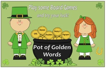 Pot of Golden Words - Game Boards for CVC, Blends, Doubles, Bossy E and Digraphs