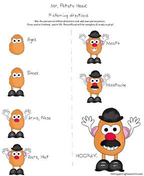 Potato Head Step-by-Step Following Directions Worksheet Printable