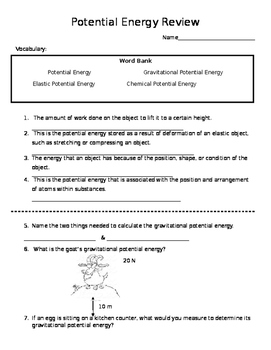 Potential Energy Review