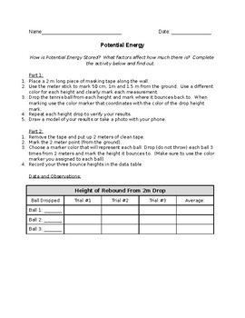 Potential Energy Lab Activity