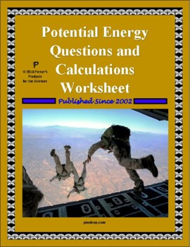 Potential Energy Questions and Calculations Worksheet | TpT