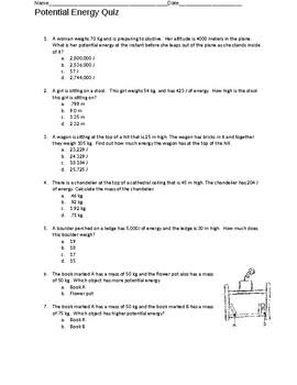 Potential Energy Quiz
