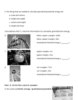 Potential Energy Test