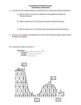 Potential Energy Worksheet (Calculations)