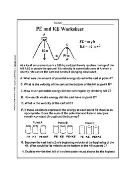 Potential Energy and Kinetic Energy Worksheet | TpT