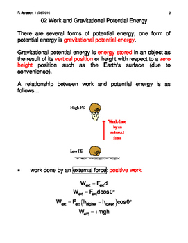 Potential Energy and Work