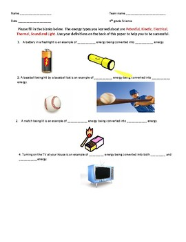 Potential, Kinetic, Electrical, Thermal, Sound and Light HW