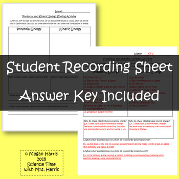 Potential/ Kinetic Energy Sort INCLUDED Student Response Sheet