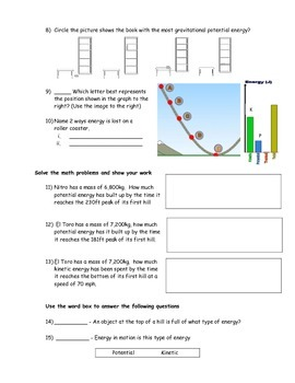 Potential and Kinetic Energy Assessment (Quiz)