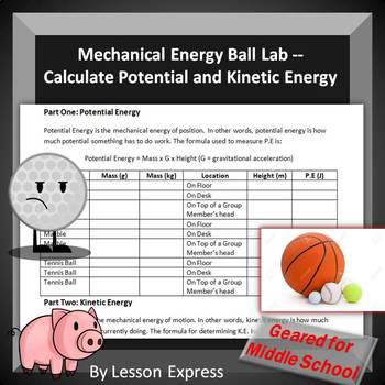 Potential and Kinetic Energy Ball Activity --- Mechanical Energy Lab