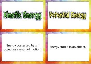 Potential and Kinetic Energy - Card Sorting Task