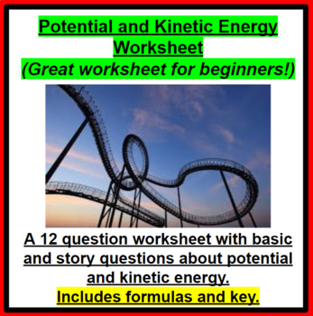 Potential and Kinetic Energy Equations worksheet (Great for beginners!)
