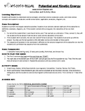 Potential and Kinetic Energy Game Puzzle with Worksheet