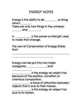 and Kinetic Energy Notes (CLOZE-Style Notes, Prezi, and Worksheet