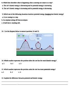 Potential and Kinetic Energy Quiz Test