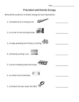 Potential And Kinetic Energy Worksheet Teaching Resources | Teachers ...