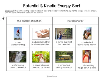 Potential and Kinetic Energy Sorting Cards