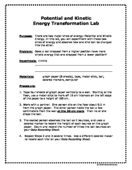 Potential and Kinetic Energy Transformation Lab