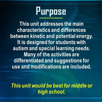Potential and Kinetic Energy Unit for Special Education