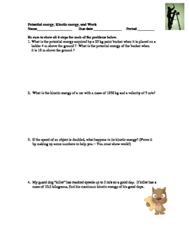 Potential and Kinetic Energy Word Problems