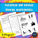 Potential and Kinetic Energy Worksheet GREAT FOR SUB PLAN OR HOMEWORK!