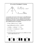 Potential and Kinetic Energy Worksheet II Springs