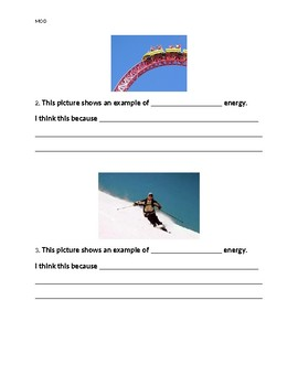 Potential and Kinetic Energy Worksheet - MODIFIED VERSION