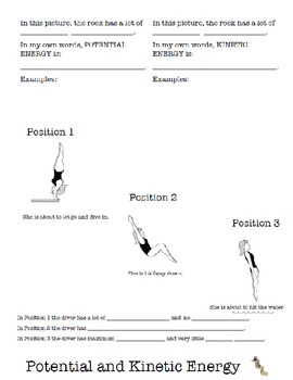 Potential and Kinetic energy foldable worksheet for interactive notebook