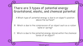 Potential energy warm-ups TEKS 6.8A  - MS-PS3-2