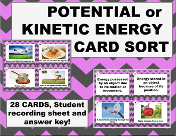 Potential or Kinetic Energy Task Card Sort; Practice, Review, Assess. Center