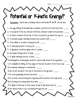 Potential or Kinetic Energy Worksheet - Physical Science